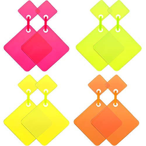 4 Pairs Women 80s Earrings Retro Earrings Dangle Earrings Neon Earrings for 80s Party Costume Accessory (Color Set 5) -