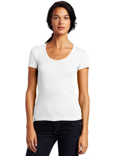 Splendid Women's 1x1 Short Sleeve Scoop, White, X-Small