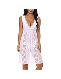 Oliveya Women Lingerie V Neck Lace Babydoll Mesh Chemise Sexy Sheer Nightgown