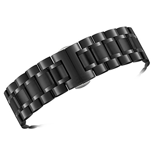 24mm Men's Deluxe Wide Solid Black Stainless Steel Watch Bracelets Wristbands with Both Curved and Straight Ends