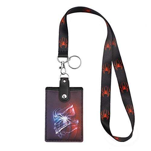 HASFINE Cute Credit Card Case Neck Pouch ID Badge Holder Lanyard with Cartoon Shield Keychain for Students Teens Boys Girls,Spiderman