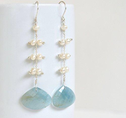 Aquamarine Drop Earrings - Freshwater Pearl Earrings - Long Sterling Silver Gemstone Earrings - March Birthstone -