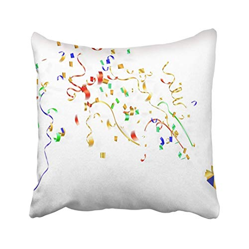 (Custom Birthday Exploding Party Popper with Confetti and Streamer On White Carnival Celebration Pillowcase Pillow Cover 18x18)