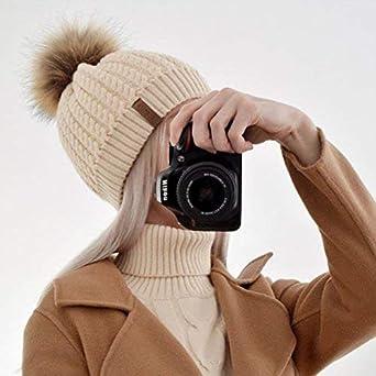 Winter Beanie Hats for Women FURTALK Womens Warm Knit Fur Bobble Pom Pom Hat  double hat de17aed345b4