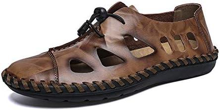 靴メンズファッションサンダルカジュアルオックスレザーで通気性の穴クローズドヘッド紐で飾るビッグサイズレジャーシューズ