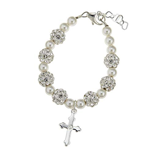 Pearl Charm Simulated (Sterling Silver Engraved Cross Charm Bracelet for Kids - With Swarovski Simulated Pearls and Sparkly Shamballa Beads - Best First Communion Gift for Boys and Girls)