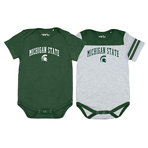 Elite Fan Shop Michigan State Spartans Infant Onesie 2 Pack - 3M - Green