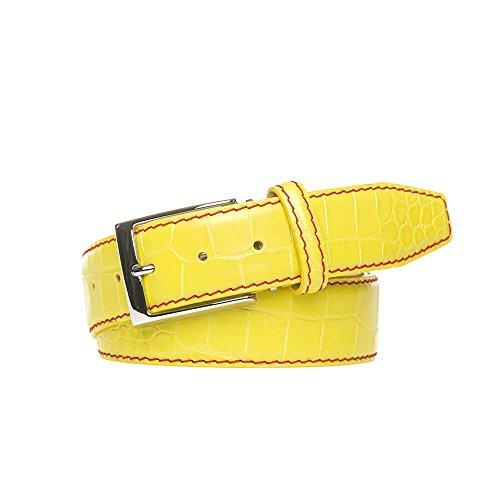 [Yellow Italian Mock Gator Leather Belt] (Croc Yellow Leather)