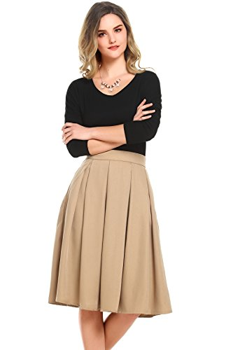 Beluring Womens High Waist Flared A-line Pleated Midi Long Skirt with Pockets Khaki Size 8 by Beluring
