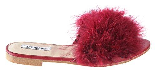 Sandali Cape Robbin-1 Donna Sandali Infradito In Flip Flop Slip On Sandali Scarpe Pantofole Mule Burgundy