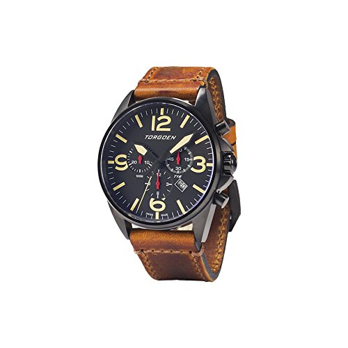 Torgoen T16 Black Swiss Chronograph Pilot Watch - 44mm Dial - Vintage Leather Strap