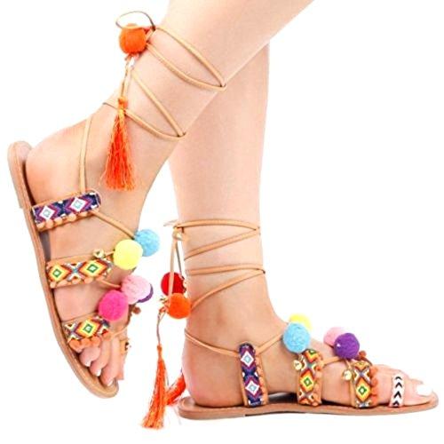 hibote Women's Fashion Lace Up Boho Sandals Gladiator Flip-Flop Shoes MROyyqN