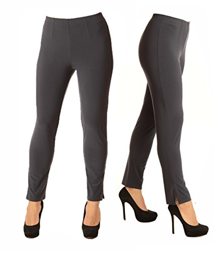 Alisha D Best Selling Travel Wear Pencil Pant Featuring Flat Front, Slimming Darted Fit, and Bottom Slit Detail (Medium,Charcoal) by Alisha.D