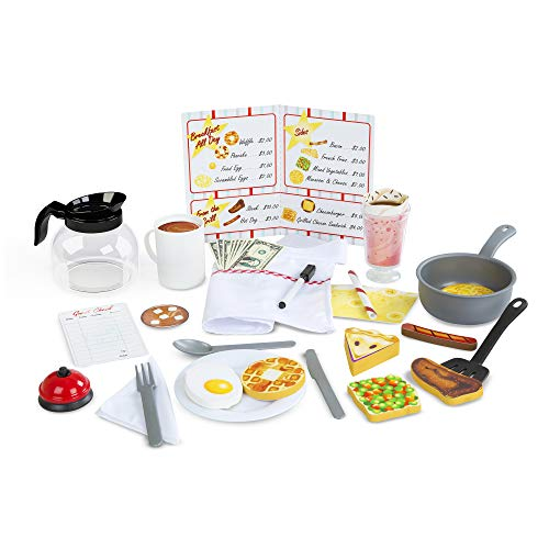 "- Melissa & Doug Star Diner Restaurant Play Set, Wooden Diner Play Set, Toy Diner Set, 41 Pieces, 7.75"" H x 9.75"" W x 6"" L"