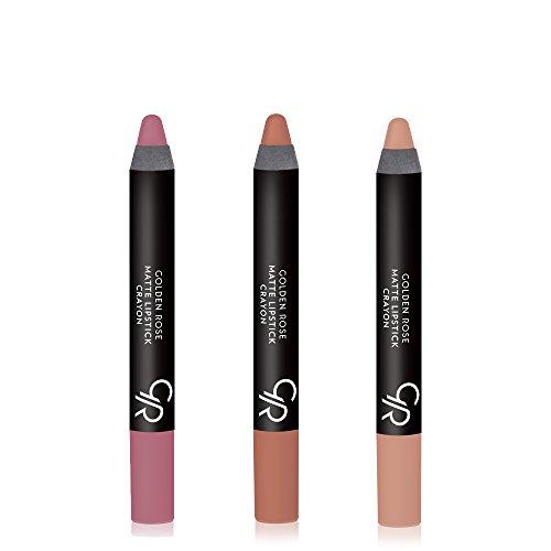 Golden Rose Creamy Matte Lipstick Crayon 3-Piece Set, Nude Set