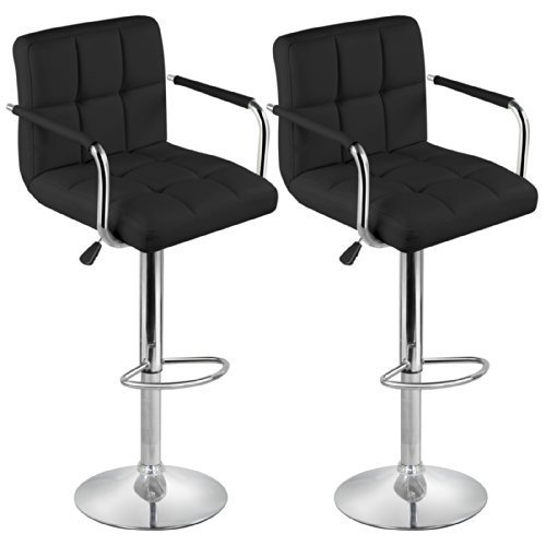 Backrest Set (Topeakmart Black Barstools Swivel Leather Stool Adjustable Bar Chair,Set of)