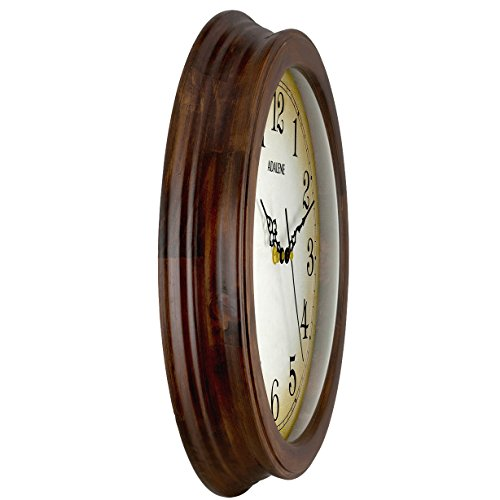 Quiet Battery Operated Wood Wall Clock Silent Non Ticking Analog Quartz Movement For Kitchen Adalene Wall Clocks Large Decorative For Living Room Decor 14 Inch Wooden Frame Large Numbers Bedrooms YIC521BN
