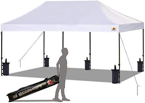 ABCCANOPY Pop up Canopy Tent Commercial Instant Shelter with Wheeled Carry Bag, Bonus 6 Canopy Sand Bags, 10×20 FT White