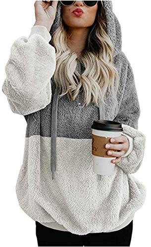 Velour Jacket Long Sleeve - Womens Fuzzy Hooded Casual Oversized Long Sleeve Loose Sweatshirt Pockets Outwear light gray 3xl