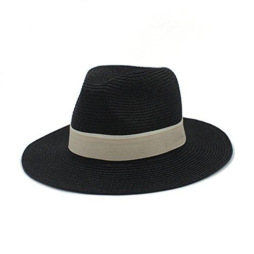 ylovego Fashion Women Summer Straw Sun Hat for Elegant Lady Outdoor Wide Brim Beach Dad Hat Sunhat Panama Fedora Hat Black
