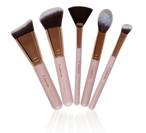 Contour Brush Set - Synthetic Sculpting and Highlighting Kit - Cream Blush Powder Flat Nose Round Small Angled Fan Tapered Precision Powder Kabuki Foundation Contouring Makeup Brushes Lamora Beauty