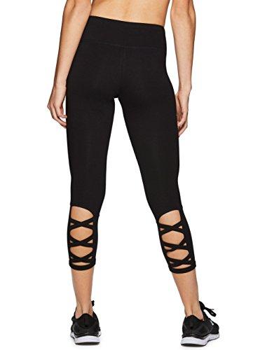 Leggings Rhinestone Black (RBX Active Women's Workout Cotton Lace up Black Capri Leggings Lace up Blackout XL)