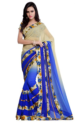 Sourbh Sarees Women's Faux Georgette Printed Blouse Saree with Unstitched Blouse Piece