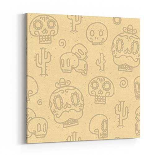 Rosenberry Rooms Canvas Wall Art Prints - Sugar Skulls Sand Seamless Vector Pattern (12 x 12 inches) for $<!--$59.49-->