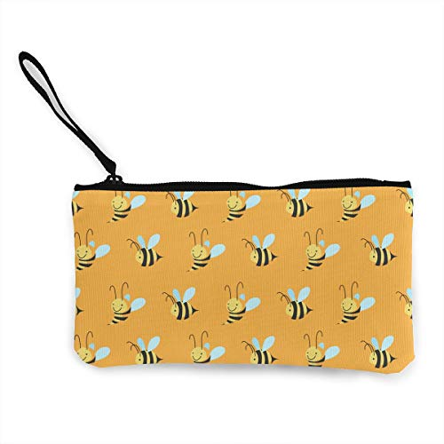 Oomato Canvas Coin Purse Honey Bee Cosmetic Makeup Storage Wallet Clutch Purse Pencil Bag -