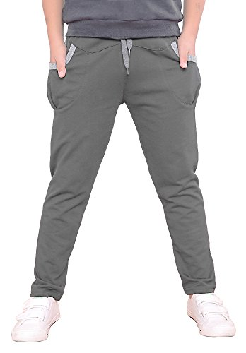 Dasnh Boy's Kids Cotton Slim Fit Adjustable Waist Jogger Pants Trousers With Two Big Pockets,8,Grey A by Dasnh (Image #1)