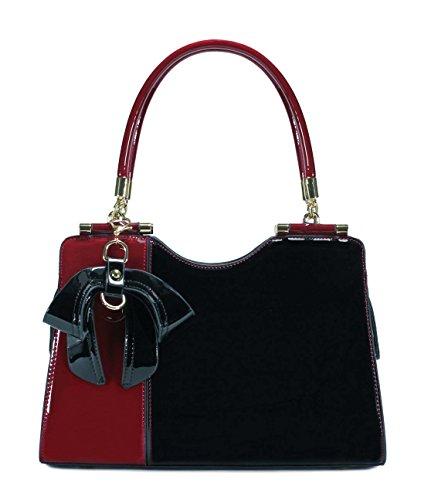 Scarleton Elegant Two Tone Satchel H14231001 - Red/Black (Handbag Satchel Red)