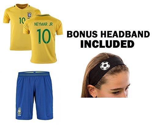 JerzeHero Brazil Neymar Jr #10 Girls Youth 3 in 1 Soccer Gift Set ✓ Soccer Jersey ✓ Shorts ✓ Headband ✓ Home or Away ✓ Short Sleeve or Long Sleeve (YM 8-10 yrs, Home Short Sleeve)