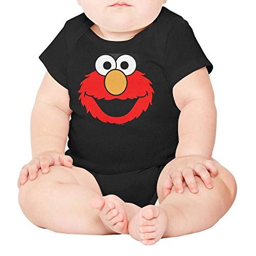 - Baby Boys Nursling Short Sleeve Black Cute-Cartton-red-Elmo-Muppet-Head-Breathable Organic Cotton Playsuit