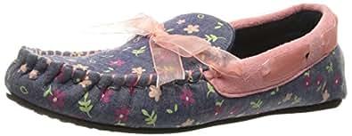 Trimfit Girls Floral Mocassin Shoe Moccasin, Blue/Pink, 4/5 M US Big Kid
