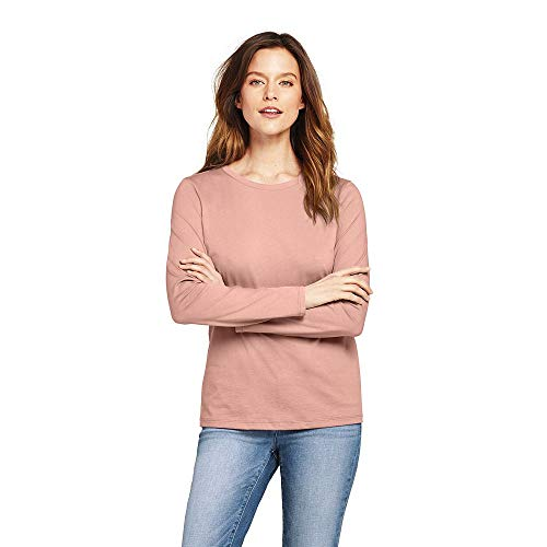upima Cotton Long Sleeve T-Shirt - Relaxed Crewneck, L, Cameo ()
