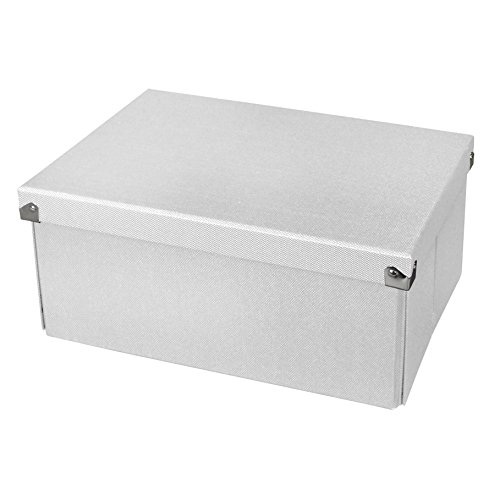 Pop n' Store Decorative Storage Box with Lid - Collapsible and Stackable - Medium Document Box White - Interior Size (12''x8.5''x5.8'') by Samsill