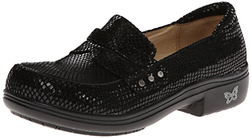 Alegria Women's Taylor Pro Black Glossy Snake Loafer Black Glossy Snake
