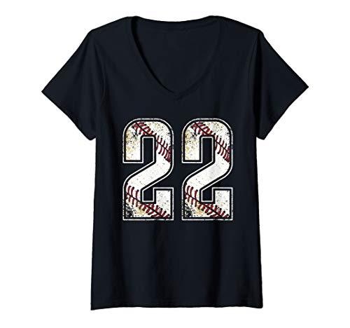 (Womens #22 Baseball Jersey Number 22 Vintage Retro Birthday Gift V-Neck T-Shirt)