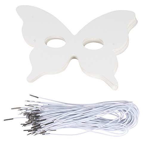DIY Mask - 48-Pack Blank Masquerade Mask for Costume Party, Butterfly Design, 5.1 x 7.8 Inches]()