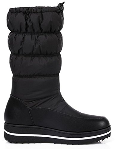 Easemax Women's Stylish Round Toe Wedged Mid Heeled Pull On Mid Calf Snow Boots Black HnbOl7