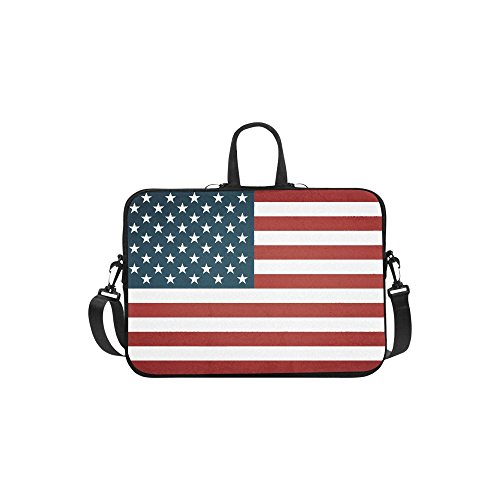 InterestPrint American Flag Laptop Sleeve Case Bag, USA Flag Shoulder Strap Laptop Sleeve Notebook Computer Bag 13.3 Inch for Macbook Pro Air HP Dell