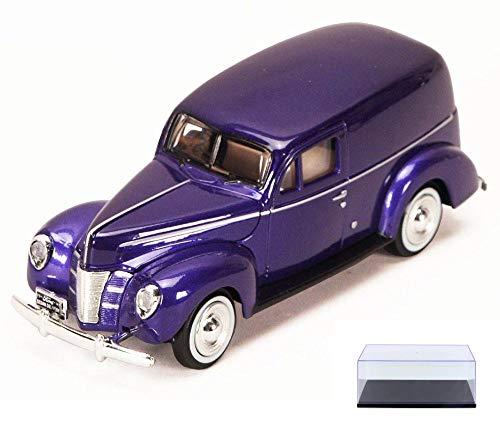 Diecast Car & Display Case Package - 1940 Ford Sedan Delivery, Purple - Motormax 73250P - 1/24 Scale Diecast Model Car w/Display Case