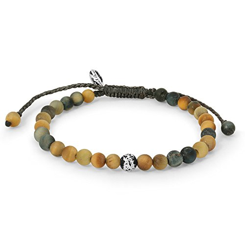 Mens Bracelet  Gemstones & 925 Sterling Silver Plated Beads  Exclusive Matte Natural Tigereye Stone  Brown Waxed Cord  Handmade by Ebb & Flow Jewelry Unique Bracelet for Boyfriend