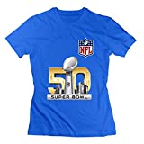 Zelura Women's 2016 Super Bowl L T-shirts Black L