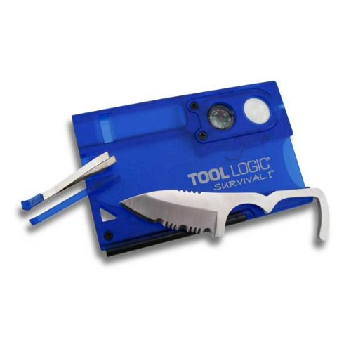 Tool Logic SVC1B Survival Card Tool With 1/2 Serrated Knife, Fire Starter, Whistle, Compass and Magnification Lens, Translucent Blue, Outdoor Stuffs