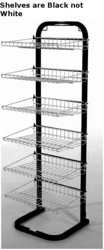 New Retail Black with Black Fixed Six Shelves Display Rack 51''H x15 3/8''W x14''D by Shelves display Case