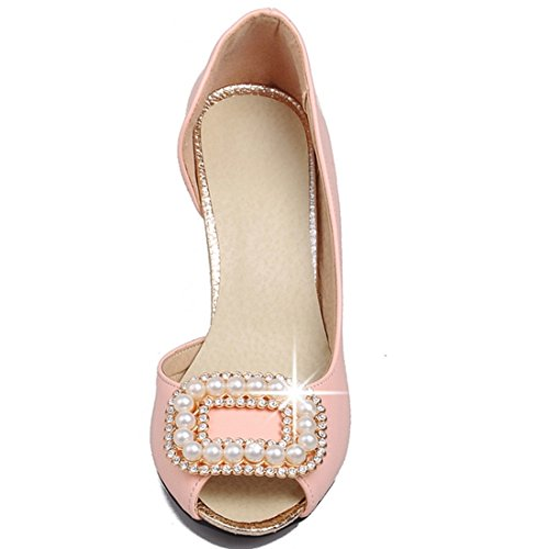 YE Women's Peep Toe Pearls Kitten Heel D'Orsay Slip On Dress Court Shoes Pink pAjyTGq8