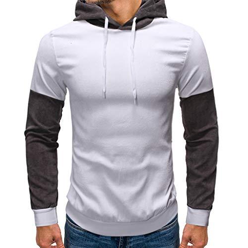 Price comparison product image Transser Men's Fashion Drawstring Autumn Long Sleeve Patchwork Hoodie Slim Fit Cotton Shirt Tops