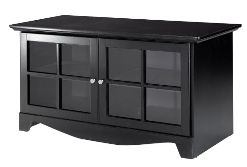 Pinnacle 49'' TV Stand 100406 from Nexera - Black (Black Media Cabinet With Glass Doors)