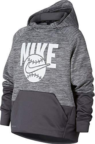 (NIKE Boy's Baseball Pullover Hoodie (Wolf Grey, Large))
